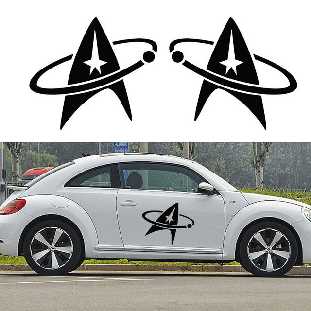 2pcs set removable star trek logo car sticker cars side truck auto suv door vinyl