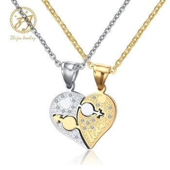 c2ec8cf8a578 Cadena de acero inoxidable para hombre, collares de amor de corazón de oro  para parejas, modelos de colgantes de suspensión emparejados a la moda ...