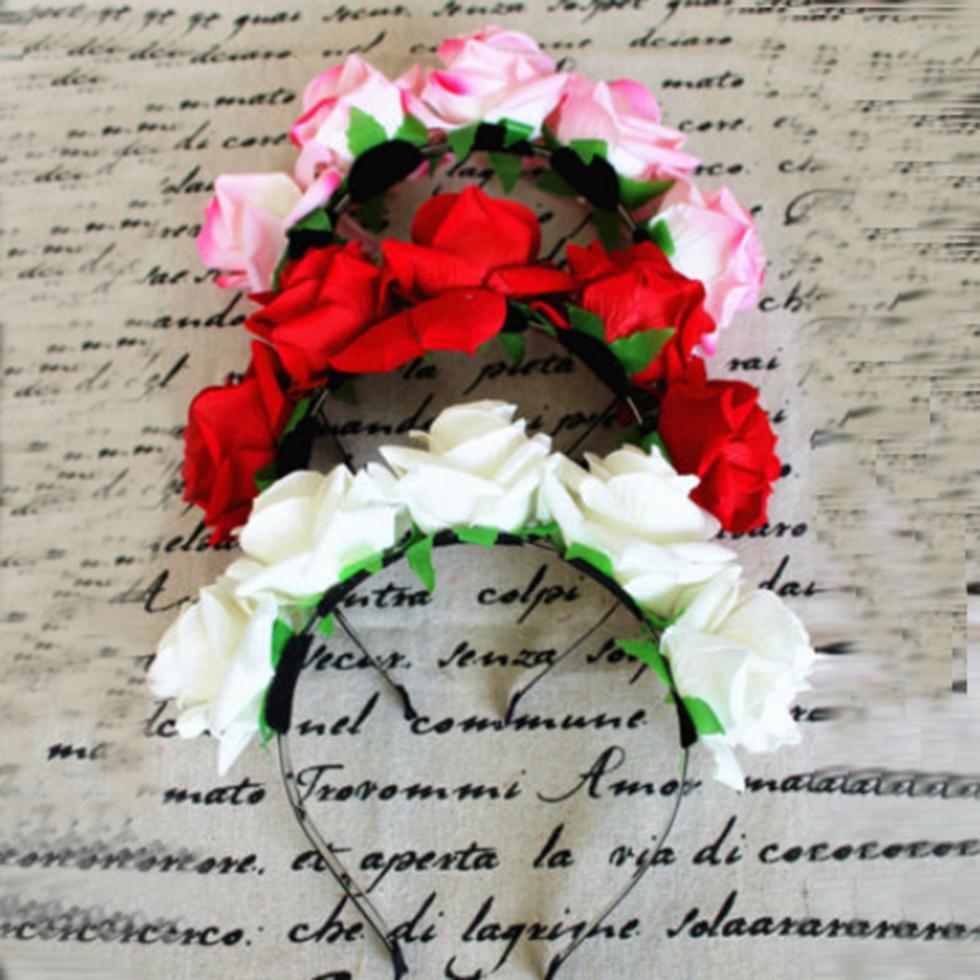 Doce mulheres meninas Rose Flower Garland cabeça faixa de cabelo Crown para  a noiva flor nova SL34 eca0392191