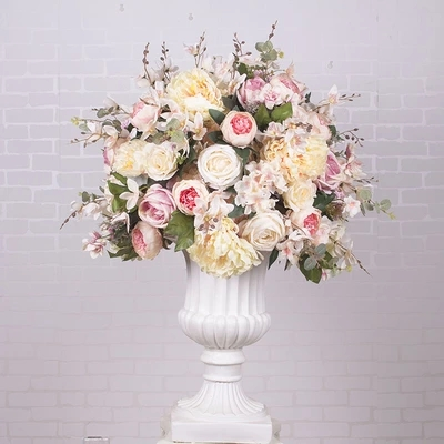 Grand style 60 cm diamètre soie artificielle rouge roses avec pivoine fleurs table centre pièce mariage fleur docoration 2 pcs/lot