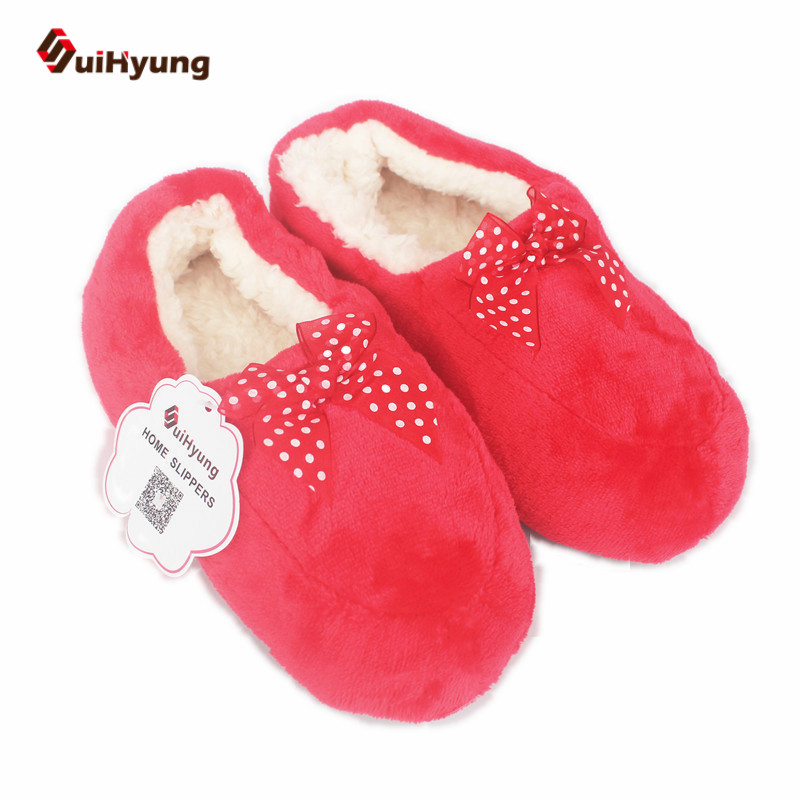 Suihyung New Women Winter Warm  Home Slippers Plus Cashmere Indoor Shoes With Butterfly-knot Non-slip Soft Floor Female Slippers актерское мастерство языком пластики