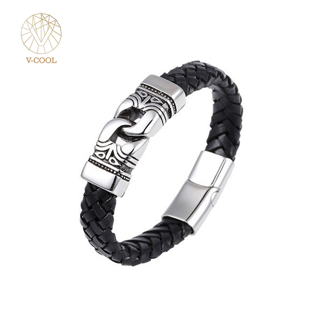 2017 Vintage Men S Braided Leather Bracelet Bangle Silver Stainless Steel Wristband Cross Black Jewelry