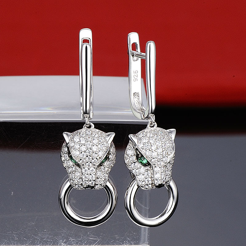 Image 4 - SANTUZZA Silver Earrings For Women Pure 925 Sterling Silver Dangle Panther Earrings Long Cubic Zirconia brincos Fashion Jewelry-in Drop Earrings from Jewelry & Accessories