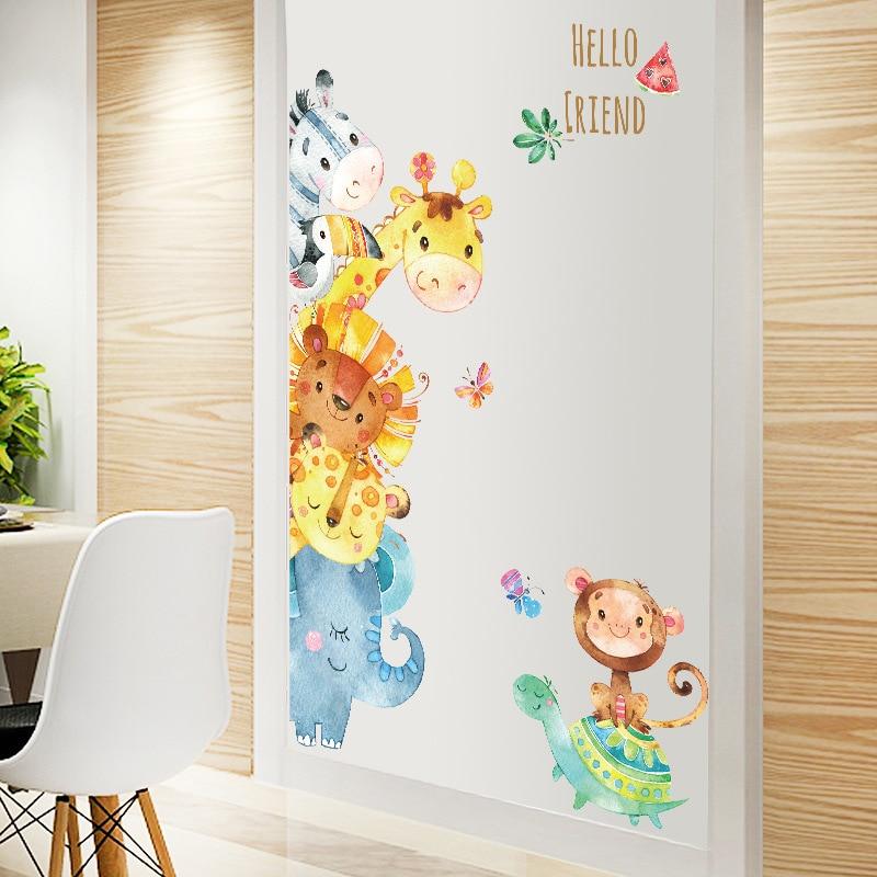 Watercolor Small Animals Cartoon Door Stickers Kids Rooms Bedroom Wall Stickers Home Decor PVC Sticker Mural