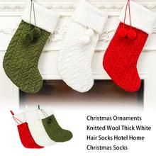 Christmas Ornaments Knitted Wool Thick White Hair Socks Hotel Home New Year Gifts For Kids Xmas Tree Ornament