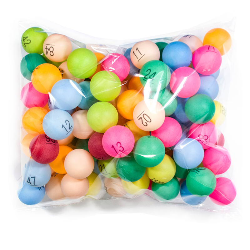 100pcs/Pack 40mm Colorful Ping Pong Balls Table Tennis Ball With 1- 100 Numbers For Lottery Entertainment Balls ABS Plastic 2.4g