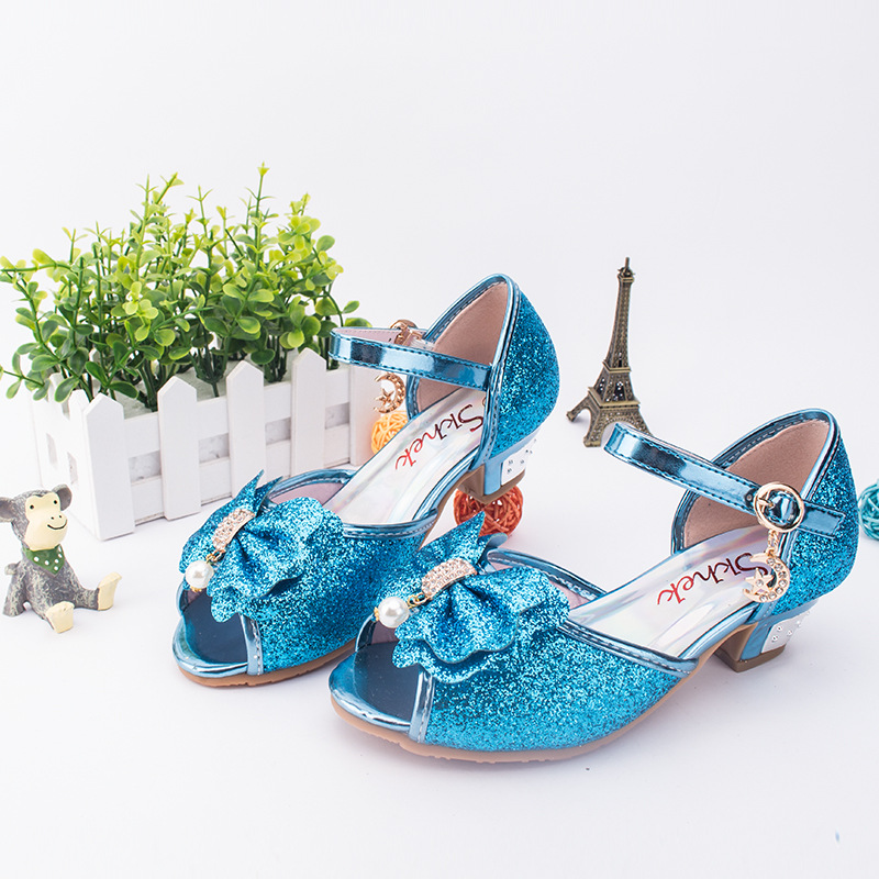 7a27ce84524fb US $16.52 13% OFF|2019 new girls high heels blue children's sandals  princess shoes 3 9 years old girls sandals 26 36-in Sneakers from Mother &  Kids on ...