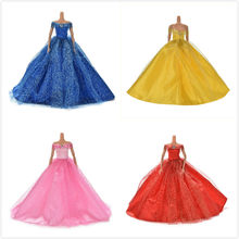 Beautiful Rhinestone Slash Neck Dress for Barbies Handmade Wedding Luxury Elegant Shining Princess Dress for Barbies(China)