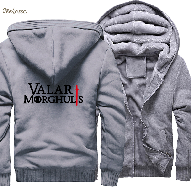Game of Thrones Valar Morghulis Hoodie Men 2018 New Fashion Winter Warm Fleece Zipper Sweatshirt Thick Hoodies Fashion Tracksuit in Hoodies amp Sweatshirts from Men 39 s Clothing