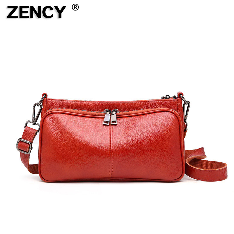 купить ZENCY Small 100% Real Genuine Leather Women Shoulder Handle Bags Female Handbag Ladies Cross Body Messenger Cowhide Designer Bag недорого