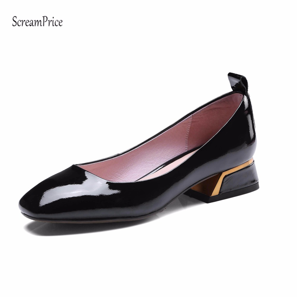 Women Sweet Round Toe Genuine Leather Thick Heels Women Pumps Slip On Lazy Shoes Casual Shoes Pink Black 2017 shoes women med heels tassel slip on women pumps solid round toe high quality loafers preppy style lady casual shoes 17