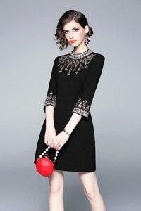 Image 5 - 女性ミラノ 2020 女性の o ネック 3/4 スリーブビーズ rhinstones エレガントなハイストリートファッションデザイナー滑走路ショートドレス
