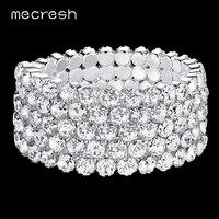 Super Czech Rhiestones Silver Plated Five Row Wedding Bridal Jewelry Women Party Bracelets SL106