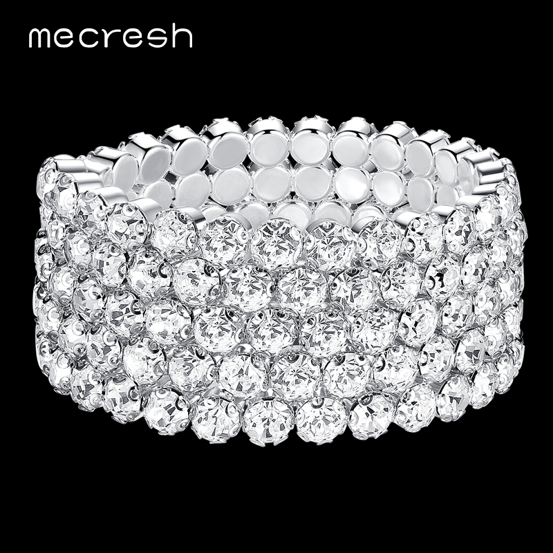 Mecresh Five Row Rhinestone Bracelets & Bangles for Women Clear African Pulseras Bridal Wedding Jewelry Christmas Gift SL106-5 mecresh attractive geometric bridal bracelets for women silver color crystal link party ladies pulseras wedding jewelry msl339