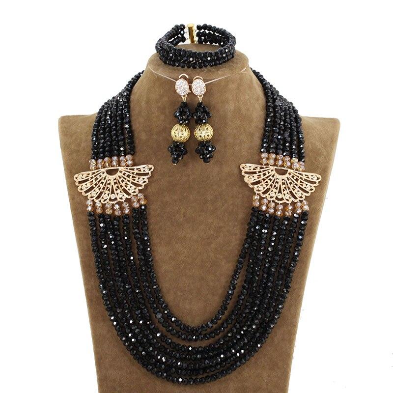 Beautiful African Crystal Beads Black and Gold Wedding Necklace Set Luxury Jewelry Set Free Shipping ACB001 beautiful set