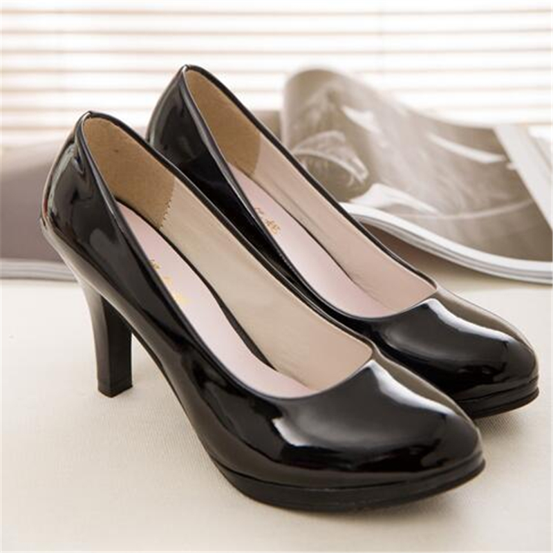 ФОТО New Fashion Solid Color Leather Women High Heels Pumps Shoes 35-41 Round Toe Office&career Classics Shoes Woman Bestseller