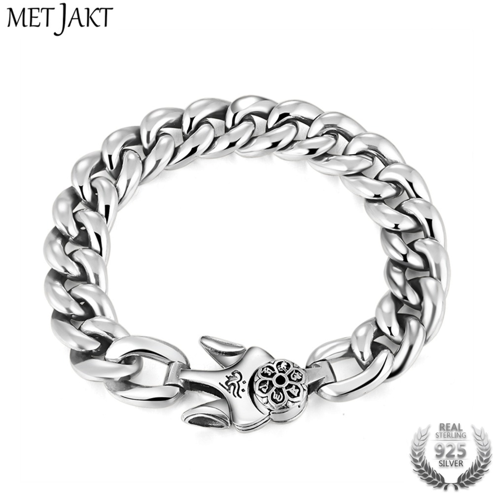MetJakt Vintage Punk Cherry Blossoms Bracelet Solid Real 925 Sterling Silver Plug Bracelets for Cool Male Biker Handmade Jewelry цена