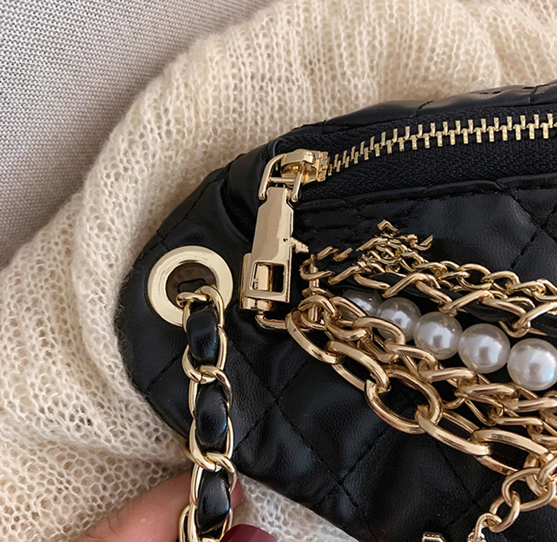Women's Waist Bag Pearl Ling Grid PU Chain Fanny Pack Bananka Travel Leisure Bag For The Belt Women Catwalk Belly Band Belt Bag