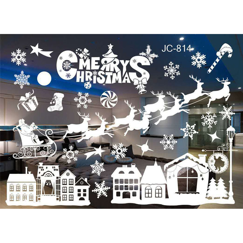 1 Set White Christmas Wall Stickers Window Decoration Christmas Decorations Wall Decoration Home Decoration LXY9