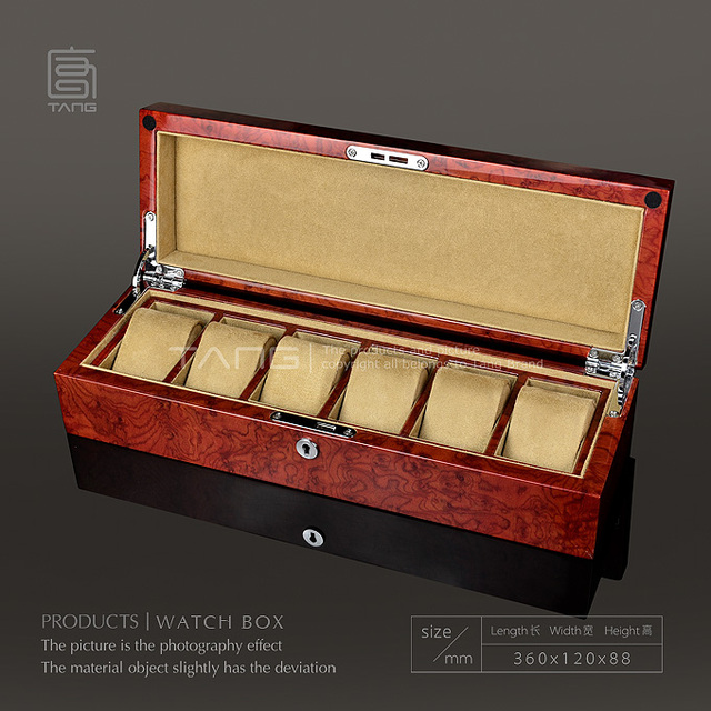 Wooden Watch Display Box Fashion Piano Red Color Watch Storage Case With Pillow And Key Watch And Jewelry Gift Cases W070 100 In Watch Boxes From