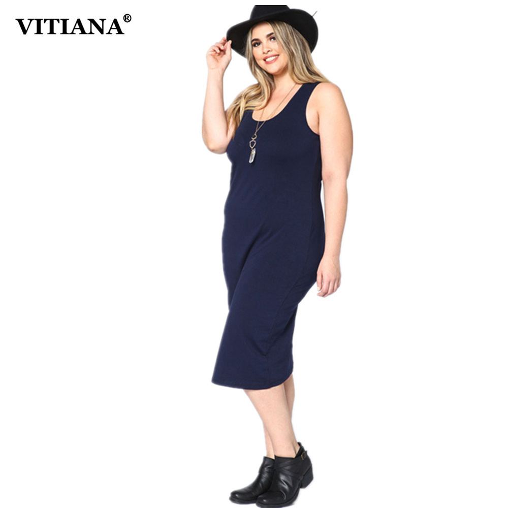 VITIANA Women Plus Big Size Knitted Casual Long Dress Female Black Dark Blue Sleeveless Tank Bodycon Summer Dresses 3XL Vestidos plus size double pockets knitted dress