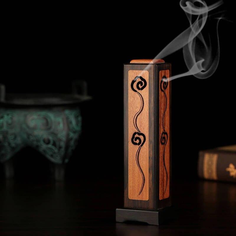 Pinny紫白檀彫刻スティック香バーナー木材ポマード線香スティック線香立て手作り香炉アロマセラピー  グループ上の ホーム&ガーデン からの お香 & バーナー の中 1
