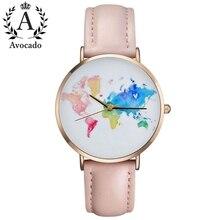 AVOCADO Graduation gift. World Map watch. Wanderlust. Gift for women. Watch woman. Travel Woman Globe watches