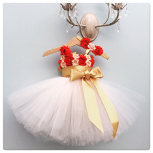 Red Flower Girls Tutu Dress Toddler Girl Christmas Infant Baby Ankle Length First Birthday Party Dress Kids Clothes with Big Bow недорого