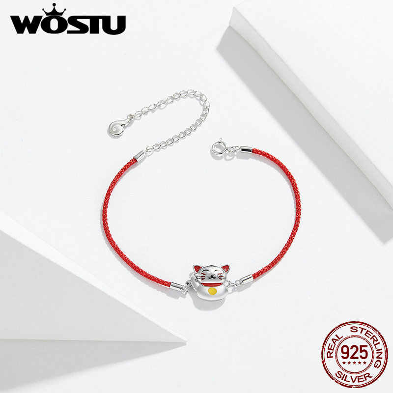 WOSTU Lucky Cat Red Rope Bracelet 100% 925 Sterling Silver Adjustable Chain Link Bangle For Women Fashion Party Jewelry CTB012