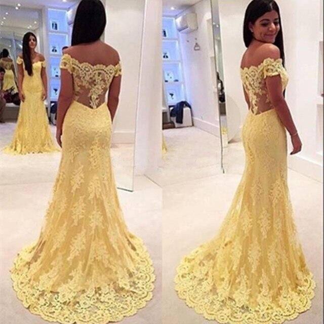 2b1dbc9128 Súper ventas 2015 Off hombro amarillas cordón de la sirena vestidos noche  opacidad transparente volver vestido