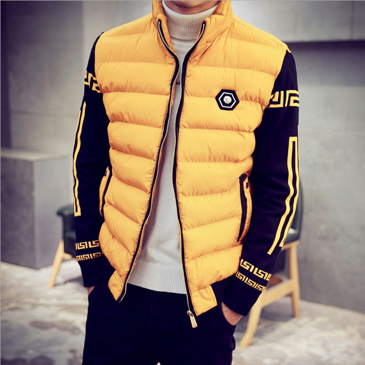 2017 new winter coat short paragraph Slim young men standing collar coat thick warm down padded jacket leisure metal icon