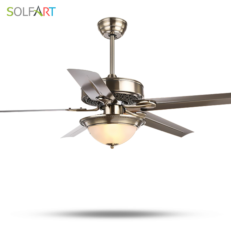 SOLFART ceiling fan crystal Mute and natural Security wind LED wooden ceiling fan glass  ...
