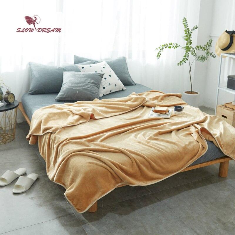 Slowdream Khaki Flannel Blanket Mantas Throw Soft Bedspread Winter Fleece Blanket Child Adult Sleeping Bed Sofa Covers Quilts