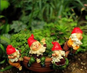 Image 1 - 4pcs לכל סט, גבוהה הוא 6 סנטימטר, מיני כובע גמד עציצי קישוטי זאקה גינון מצרכי טחבי בשרני מיקרו נוף elf
