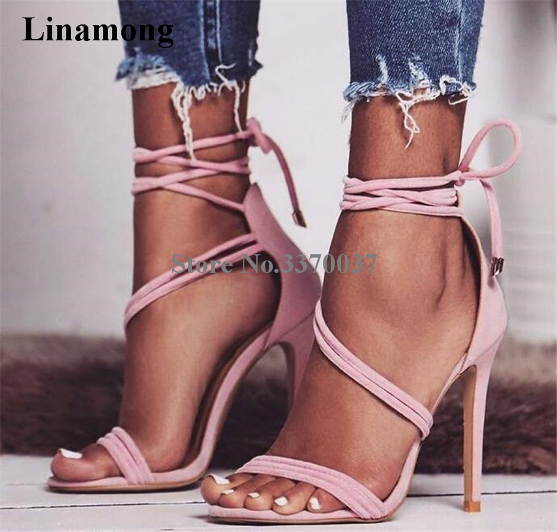 Summer Fashion Women Open Toe Strap Cross Gladiator Sandals Cut-out Suede Leather Ankle Strap High Heel Sandals Dress Shoes цены онлайн