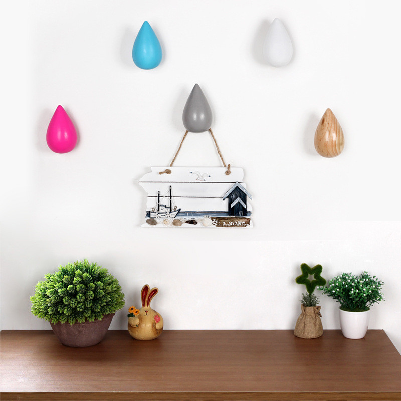 Moda Creativa Colgante de pared Escudo Gancho De Madera Escudo de - Organización y almacenamiento en la casa