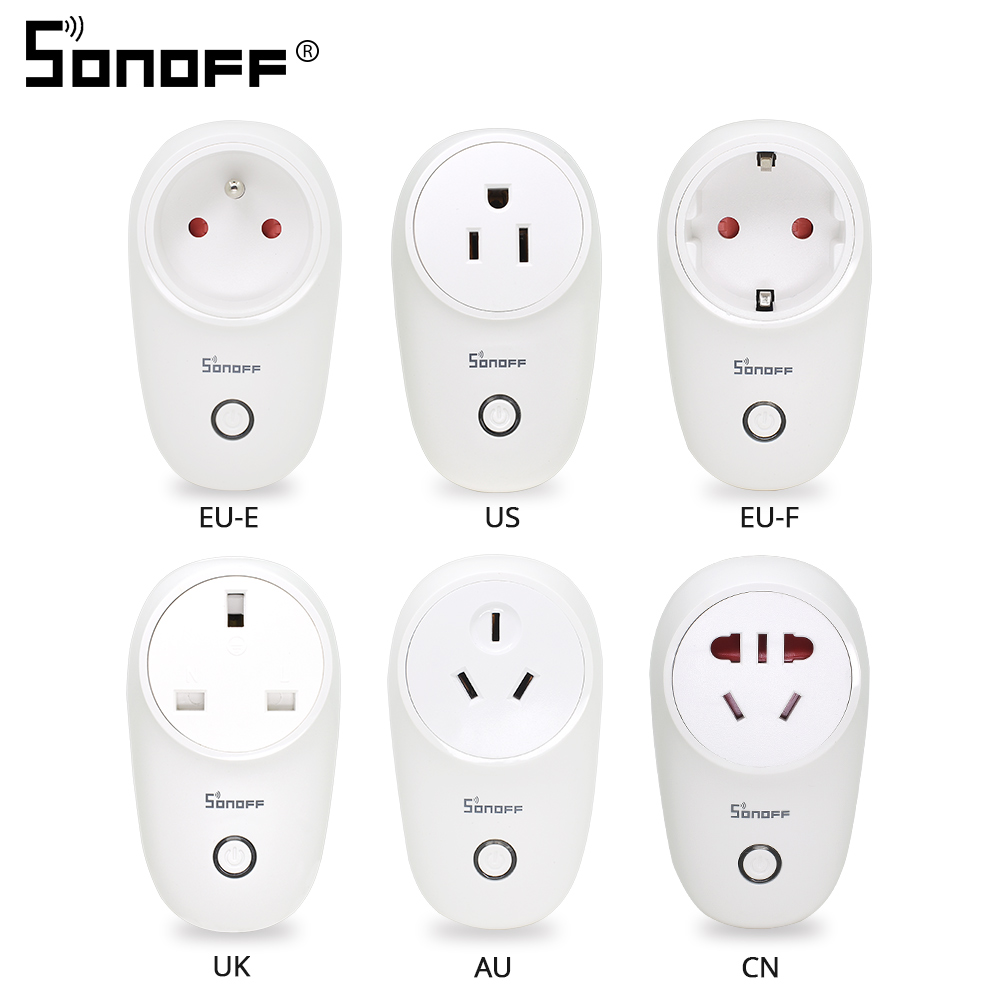 Sonoff S26 WiFi Smart Socket Plug US/UK/CN/AU/EU Wireless Power Sockets Smart Home Relay Switch Work With Alexa Google