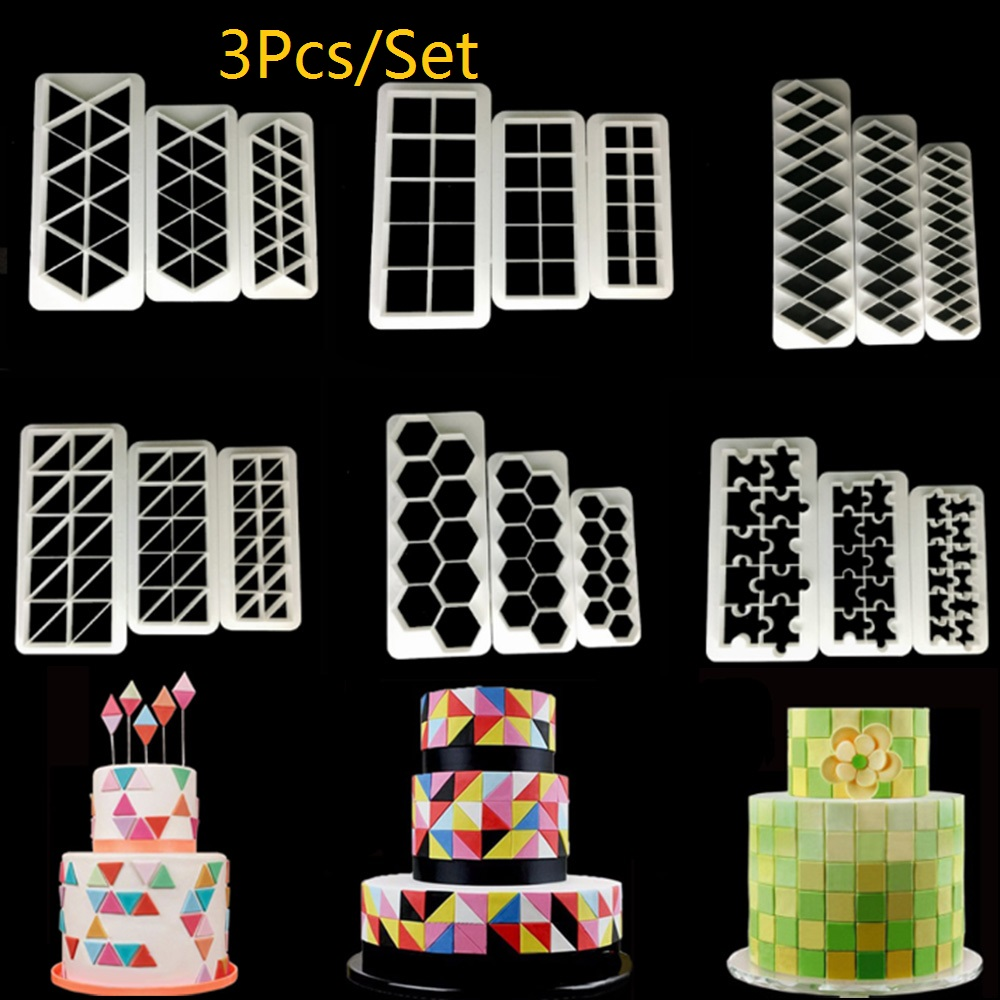 3pcs Square Geometric Cutters Fondant Cookie Cutter Geometry Cake Mold Fondant Mold Cake Decorating Tools Baking 11 Designs image