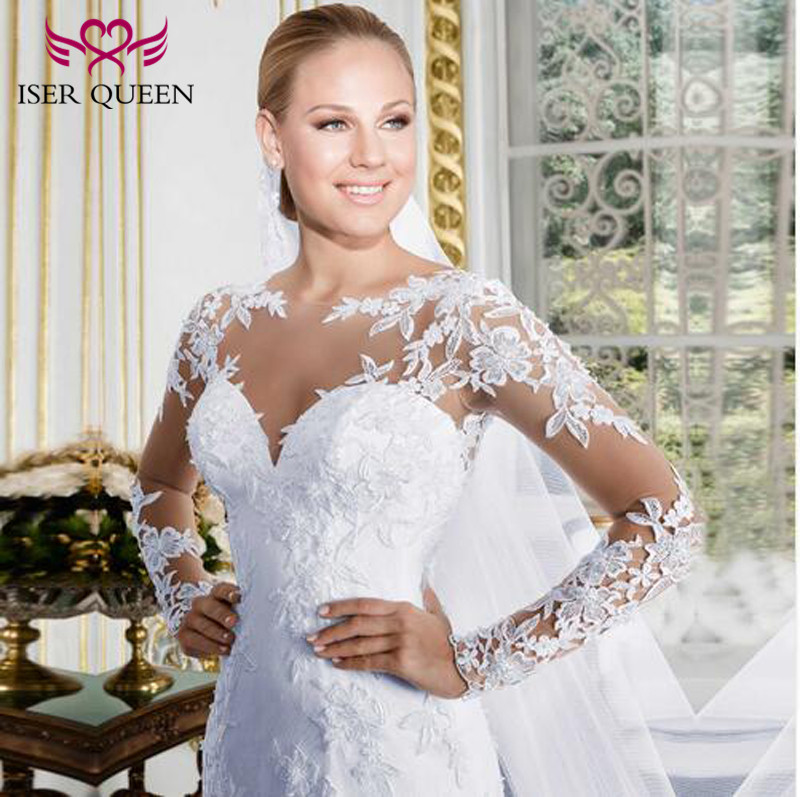 Embroidery Appliques Plus Size White Court Train Sweetheart Sheer Neck Long Sleeve Mermaid Wedding Dress Wedding Gown W0058