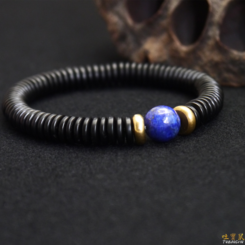 Original Natural Lapis lazuli Coconut shell Semi prescious Stone Beads Bracelet Men Women Ethnic Jewelry Artisan Design Handmade