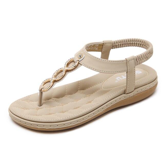 sale retailer cbcda 1425e 2018 frauen Sandalen Frau Sommer Mode Flip Flops Damen Komfort Strand  Flache Schuhe Alias Mujer Plus Größe Apricot Schwarz Grau