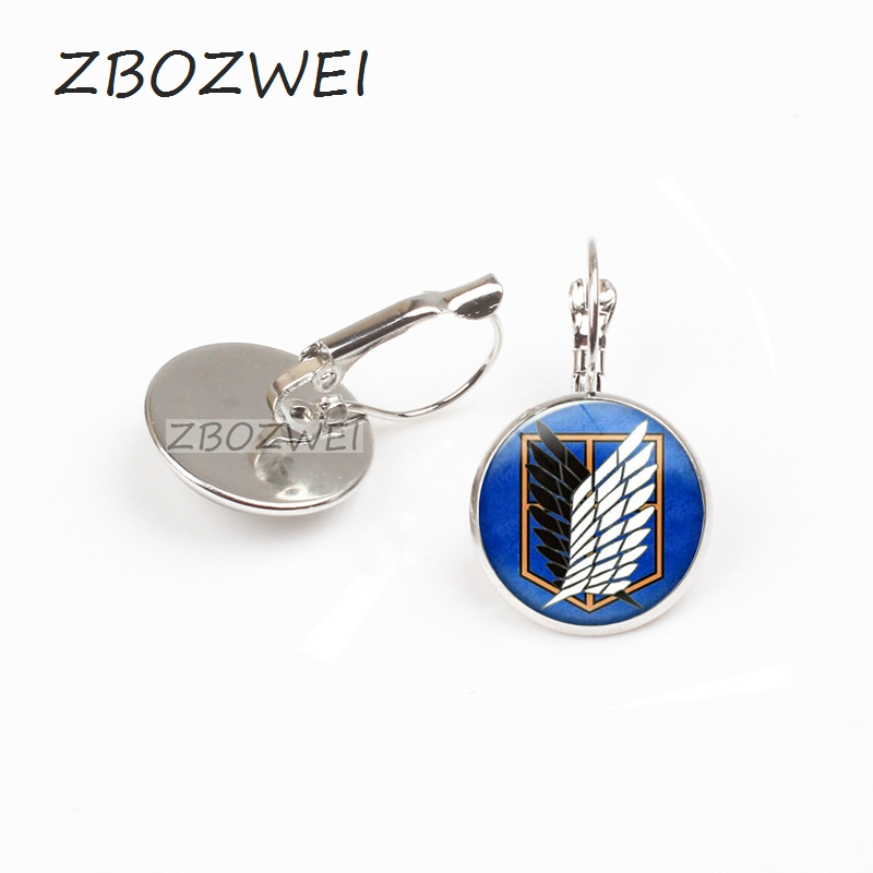 ZBOZWEI 2018 Fashion Steampunk JaPan Anime Attack On Titan earring Women Men earring Glass Handmade Jewelry