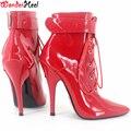 """Wonderheel extrema salto alto 12 cm/5 """"salto stilleto sensuais ankle boots patente vermelho apontou botas dedo do pé com dois cadeados com chave"""