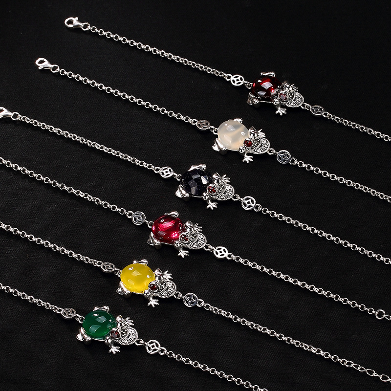 New silver S925 Sterling Silver retro Thai silver, marble stone mosaic jade, Golden Toad lady high-end Silver Bracelet home improvement marble stone mosaic tiles natural jade style kitchen backsplash art wall floor decor free shipping lsmb101