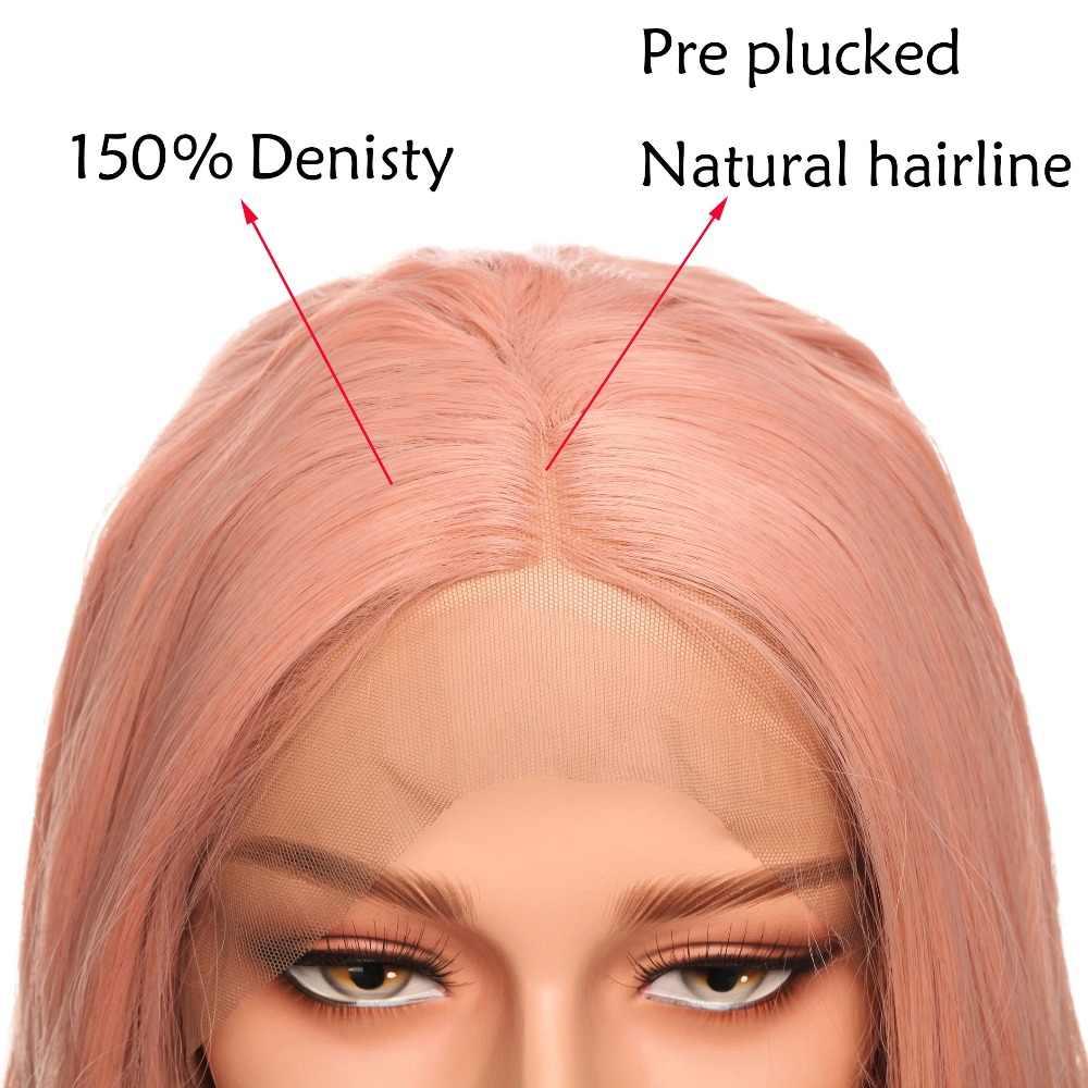 Snoilite 24 Inch Body Wave Lace Front Pruik Voor Vrouwen Pre Geplukt Natuurlijke Haarlijn Hoofd Pruiken Synthetische Lace Front pruik Bruin Roze