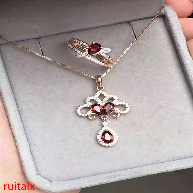 KJJEAXCMY boutique jewels 925 pure silver inlaid with natural garnet female bracelet ring pendant + necklace 2 pieces of jewelry
