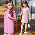 Chinese Style girl's Three Quarter lace Dresses Nice Solid Knee-length Dresses for 2-10Y