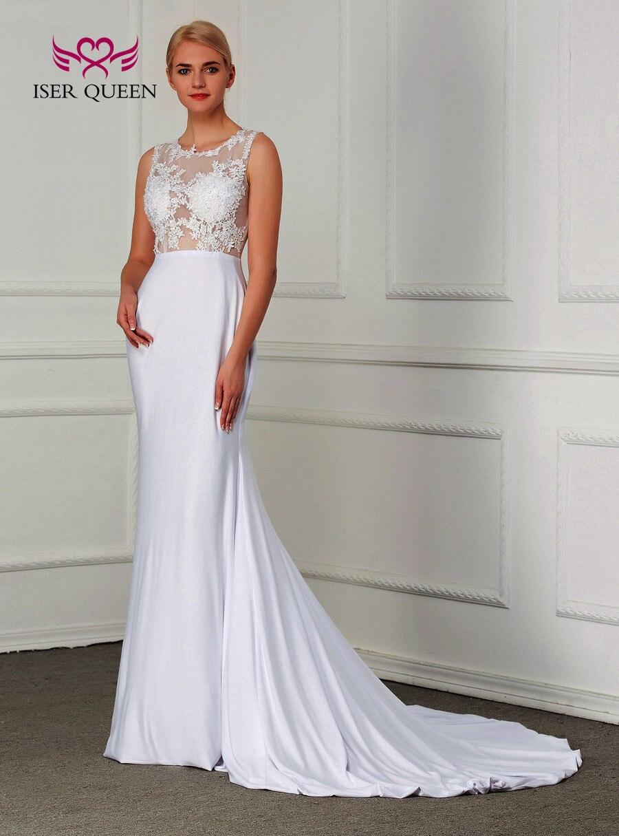 Vestido de novia de sirena sencillo de satén elástico de ilusión Sexy 2019 Color blanco de talla grande vestido de novia elegante W210 - 3