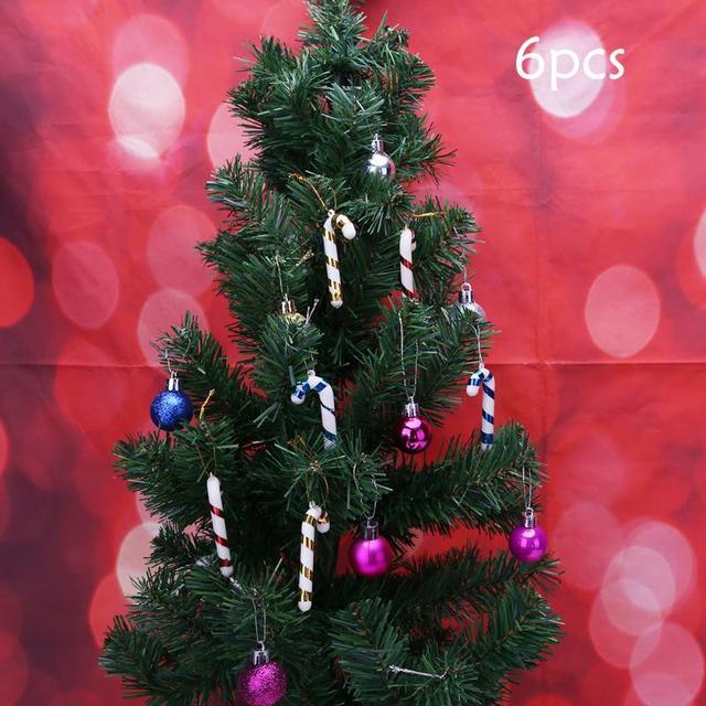 6pcs xmas hanging candy cane christmas tree decoration mini crutch party decor mini crutch christmas tree