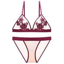 Black sexy lace lingerie set female underwear flower embroidery transparent bra push up suit briefs and panty elegance